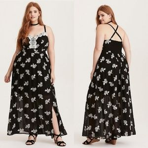 Torrid Black White Embroidered Chiffon Maxi Dress